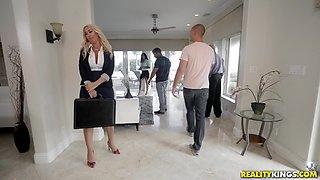 Busty blonde secretary Janna Hicks pounded doggy style