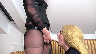 redhead madame louise train her sissy in strapon sucking