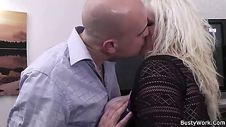 damn pretty blonde with big tits at work