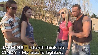 Cindy White and another chick like to fuck with two guys at once