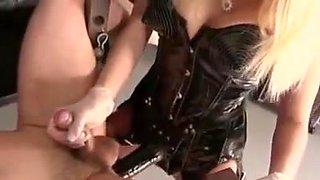 Blonde mistress using her slave boy