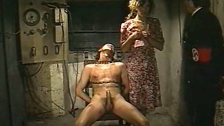 Naughty fair haired beauty had hard 3 some with kinky officer and chained stud
