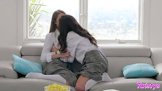 Naughty naturally stuck lesbians go wild licking wet pussies 69