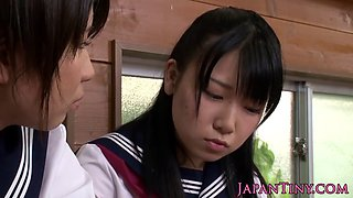 Petite Japanese schoolgirls threesome fucking