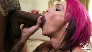 Yummy heavily tattooed fuck doll Anna Bell Peaks blows black giant dick ardently