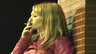 Pink Angel Candid Smoking