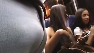 Two girls are hypnotized watching my cock on the bus
