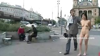 Naked slut walked and humiliated in public disgrace sex and