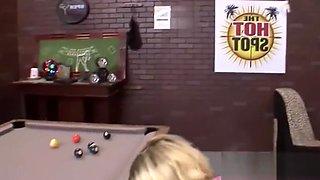 Midget naughty while playing pool