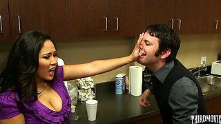 Jessica secretly fucks in the office