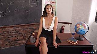 Big tittied stripping teacher Sapphire makes mouth water