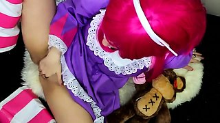 Pink haired teen in uniform blows a cock and fucks herself