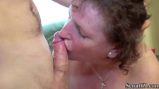GERMAN BBW GRANNY SEDUCE YOUNG GUY TO FUCK HER HAIRY PUSSY