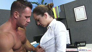 Hot as fire brunette beauty Remy LaCroix fucked in the office