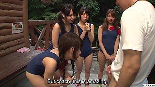 Japanese schoolgirls in swimsuits CFNM handjob harem