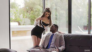 Long legged svelte personal secretary gets analfucked by black boss