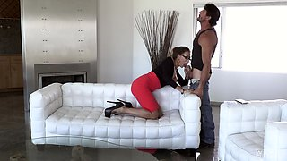 Dick craving MILF Claudia Valentine lifts up her skirt for a cock