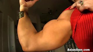 sexy fitness model dildos her pussy