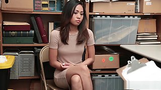 Skinny Asian babe forced to pay for her crimes