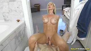 fake tittied tylo duran rides her stepson in the bathroom