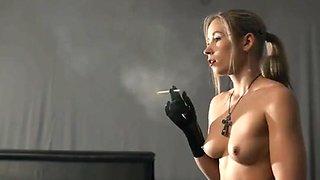 smoking girl nice tits