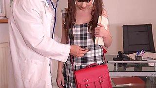 Naughty head nurse Tina Kay is having Dr. Long Cock examine her pussy
