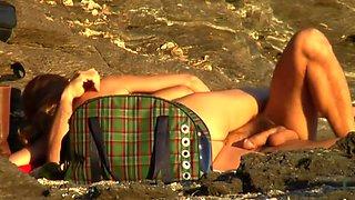 Sex on the beach mature couple secretly having sex