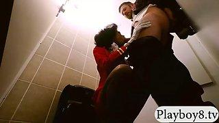 Ghetto stewardess boned by pervert man in public toilet