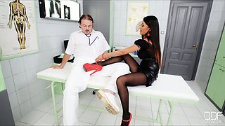Appetizing kinky Asian patient in heels gives blowjob and footjob to doctor