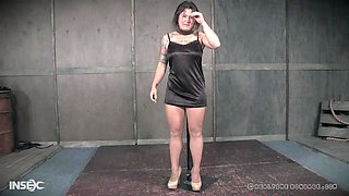 Chubby brunette in high heels abused by a big dick