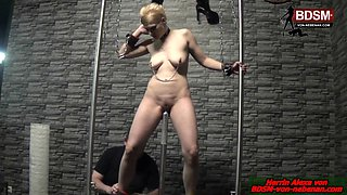 Fetish bondage session with blond german mature slave with nipple claims
