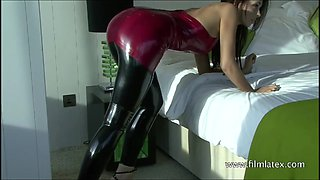 High heel beauty Aimees sexy black latex and softcore babe p