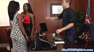 Ebony squirting threesome in lawyers office