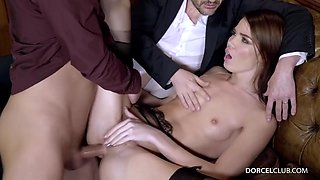 Skinny brunette in erotic stockings and garter belt, Lovenia Lux had sex with two rich guys
