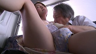 Pretty Asian girl fucked in the back of a public bus