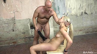 Appealing blonde gagged in merciless maledom play