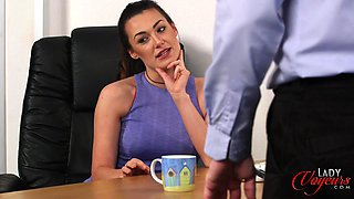 Amateur video of boss lady Carla James watching her employee masturbate