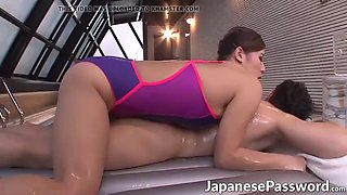 Wet Japanese hottie gives a nice blowjob to a horny dude