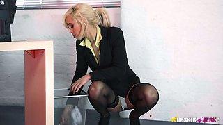 Filthy secretary Fi Fi is flashing upskirt under the table