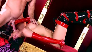 Devil sucks the dick of Johnny Sins and swallows cum