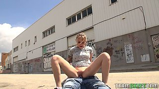 Shameless teen Arteya is flashing her pierced tits and getting fucked outdoor