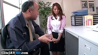 Japanese secretary deepthroat training at work