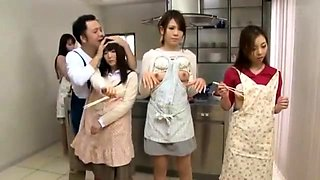 Lovely Japanese housewives get pounded hard in the kitchen