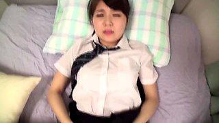 Adorable Oriental schoolgirl gets her tight slit rammed hard