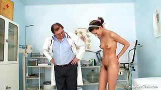 Angela gyno vagina exam with speculum by old kinky doctor