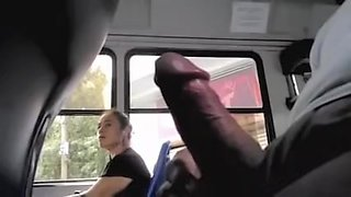 Fatty amateur on bus pretends not to see my cock