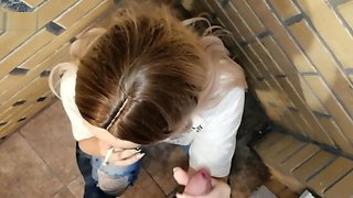 A real blond teen girl smokes, sucks and fucks in public, at the porch