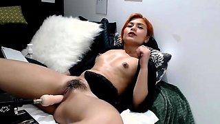 ginger latina masturbates with fuck machine