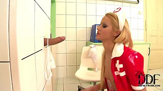The glory hole for blonde nurse Cherry Kiss