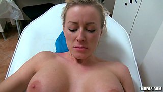 Blondie with big fake juggs fucks mish style on POV video
